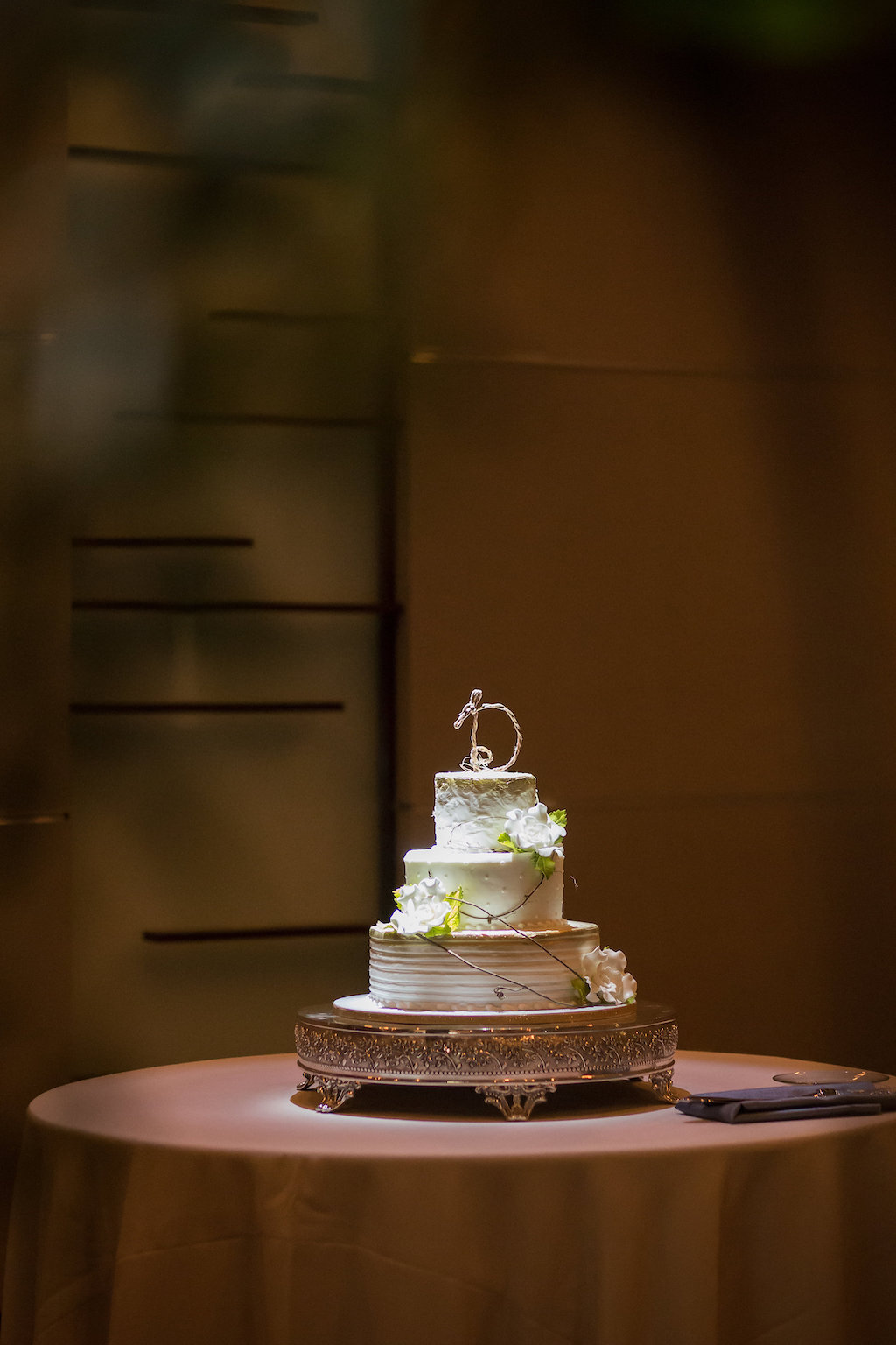 Three Tier White Wedding Cake with White Flowers on Silver Cake Stand | Tampa Bay Photographer Cat Pennenga Photography