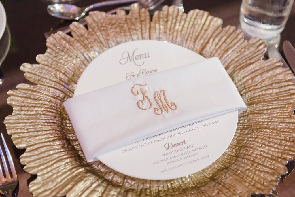 Elegant Wedding Reception Inspiration Custom Monogram Linen Napkins With Round Menu Card And Gold Charger Plate Marry Me Tampa Bay Local Real Wedding Inspiration Vendor Recommendation Reviews