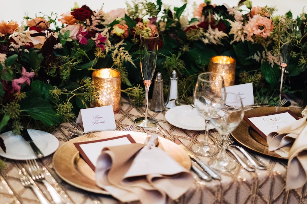 Elegant Romantic Wedding Reception Decor Sweetheart Table Gold