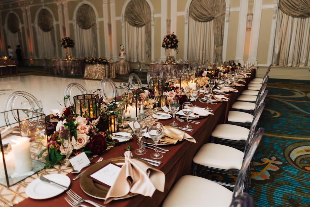 Elegant Romantic Hotel Ballroom Wedding Reception Decor Long