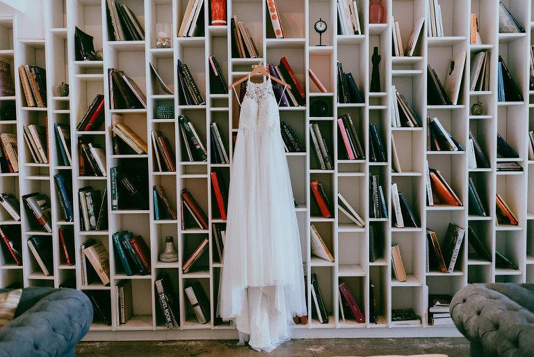 Chiffon and Lace High Neck Illusion Wedding Dress
