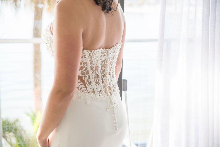 Bride Getting Ready Portrait in Strapless Illusion Lace Bodice Back Wedding Dress | Tampa Wedding Photographer Kristen Marie Photography | Tampa Wedding Shop Truly Forever Bridal