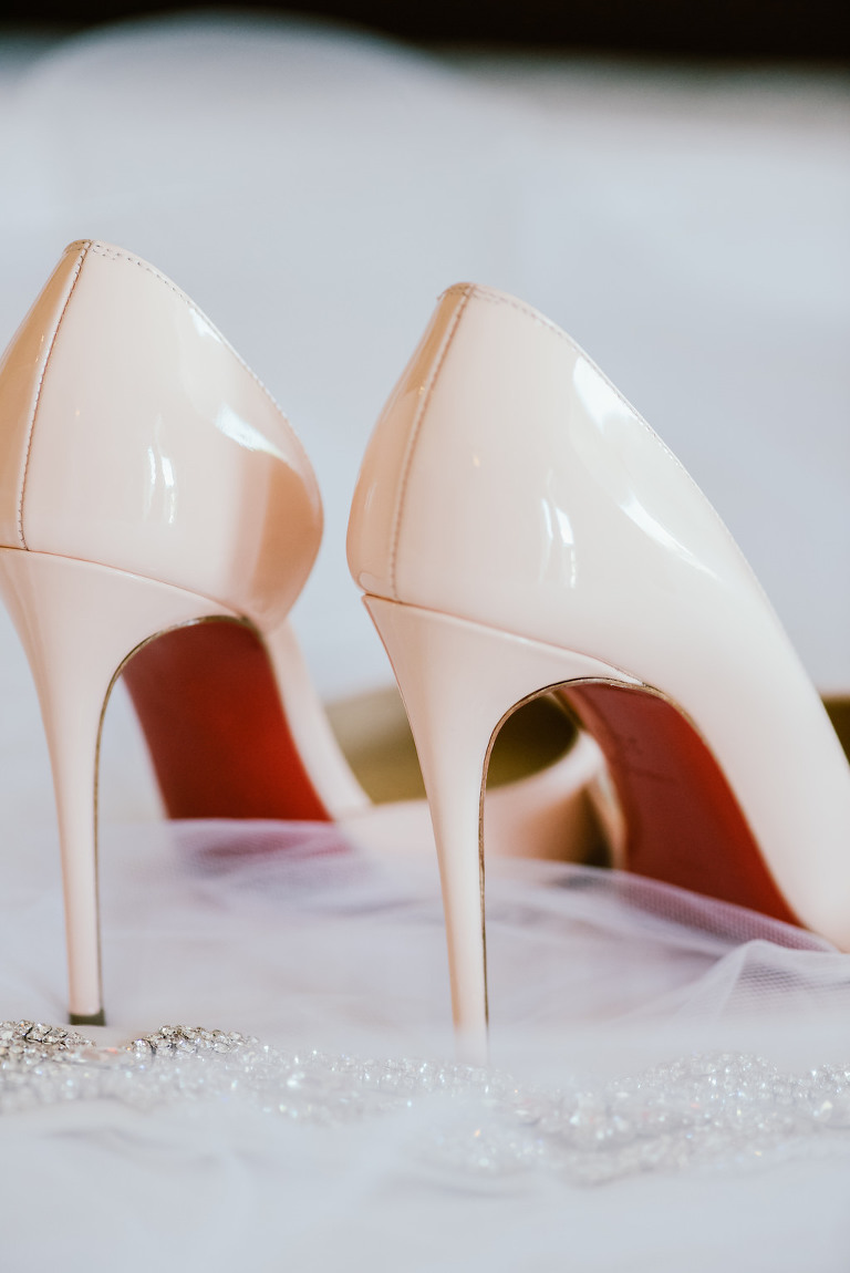 Off White Red Bottom Wedding Shoes and Rhinestone Garter