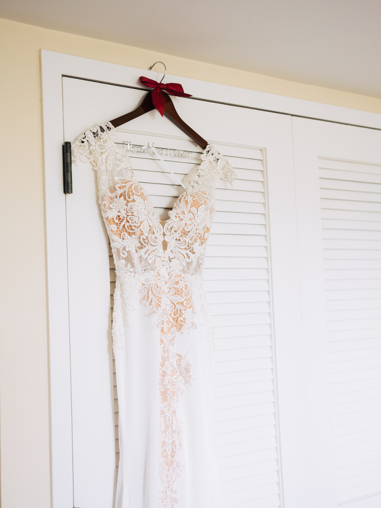 White Lace Bodice Cap Sleeve and Deep V Neck Fitted Wedding Dress with Nude Lining on Custom Personalized Wooden Hanger