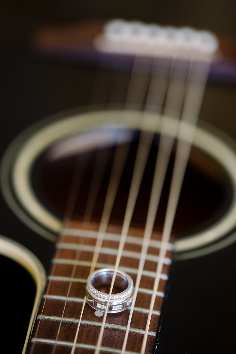 Creative Groom and Bride Wedding Rings Portrait on Guitar   Tampa Bay Photographer Kera Photography