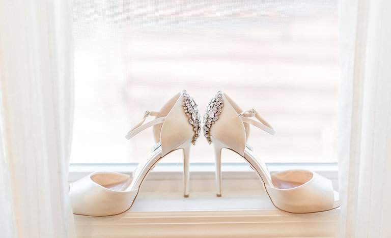 Ivory Badgley Mischka Peep Toe Strappy Wedding Shoes with Rhinestone Brooch