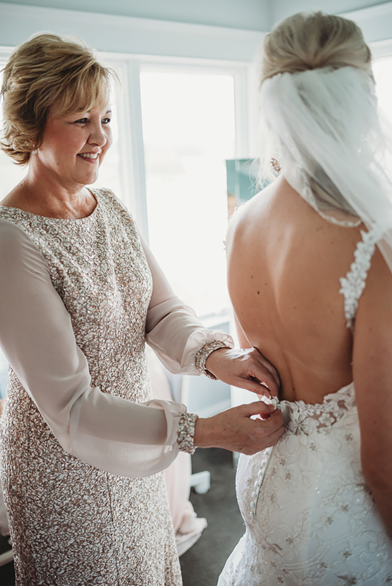 Bride and Mother Getting Ready Wedding Portrait, Bride in Low Back Floral Lace Embellished and Rhinestone Wedding Dress | Tampa Bay Wedding Dress Shop Truly Forever Bridal