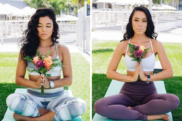 Tampa Bay Bachelorette Party Doing Yoga Outside on Lawn of Hotel with Purple, Peach and Greenery Floral Bouquets | Tampa Bay Wedding Yoga Services Fifth Sign Yogi | Tampa Bay Wedding Venue The Godfrey Hotel | Hair and Makeup Michele Renee the Studio | Photographer Grind and Press Photography