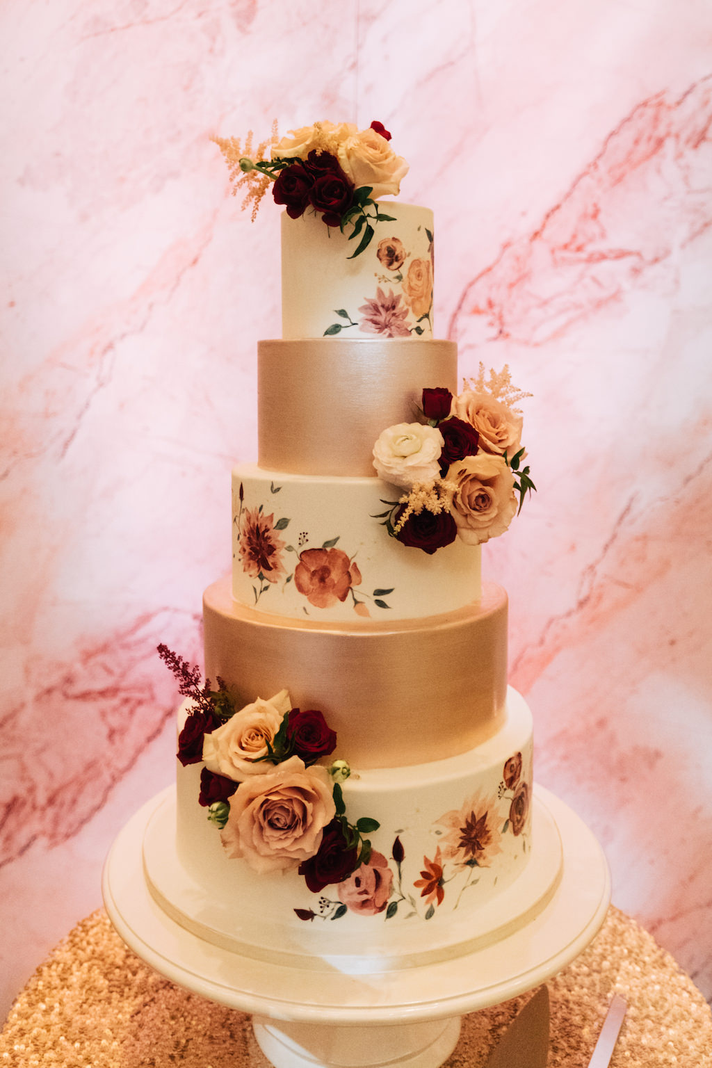 5 Tier Elegant Wedding Cake White Tiers With Painted