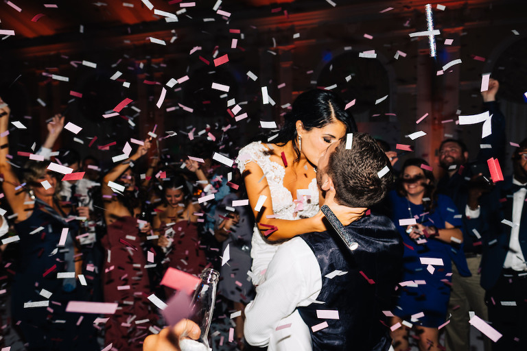 Bride and Groom Kevin Keirmaier, Professional Tampa Bay Rays Baseball Player, Wedding Reception Intimate Dancing Portrait with Confetti | Tampa Bay Wedding Planner Parties A'la Carte