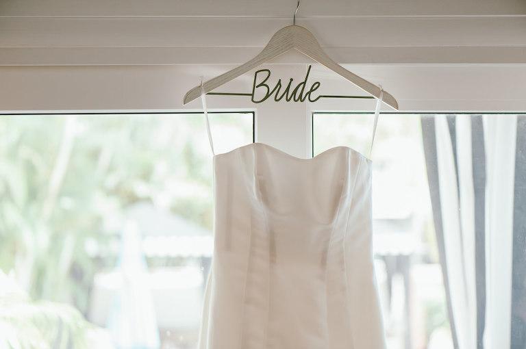 Strapless Sweetheart Satin Wedding Dress on Custom White Wire Hanger