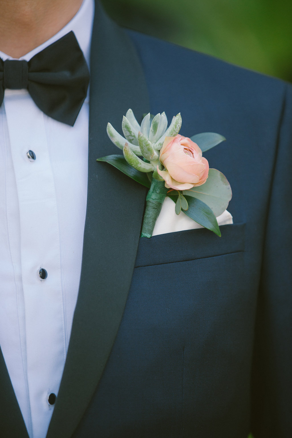 Groom Florida Wedding Portrait in Navy Blue Tuxedo and Blush Pink and Succulent Boutonniere | Tampa Bay Photographer Kera Photography