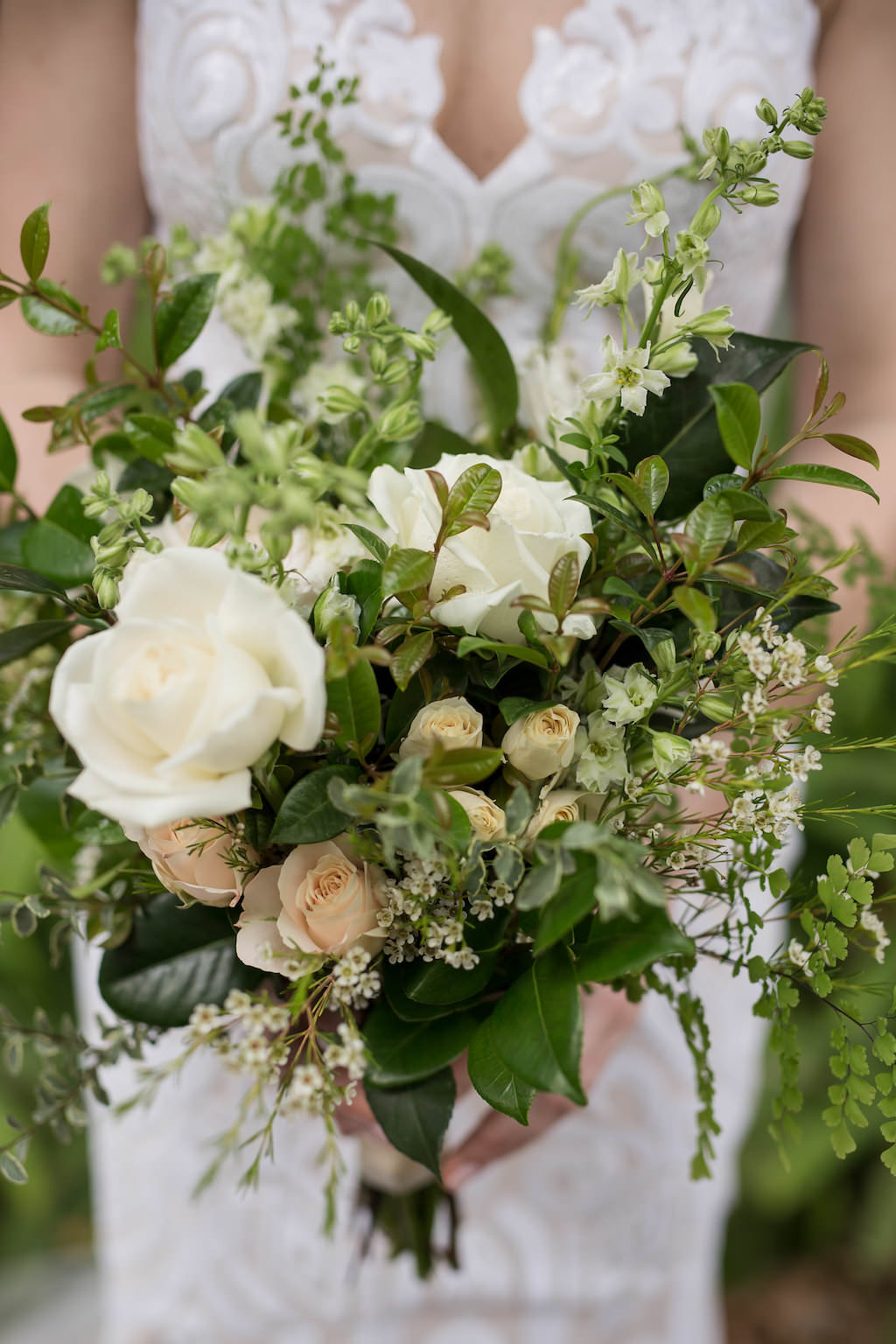 Organic Greenery and White Rose Wedding Bouquet | Tampa Bay Photographer Cat Pennenga Photography| Sarasota Wedding Planner NK Productions