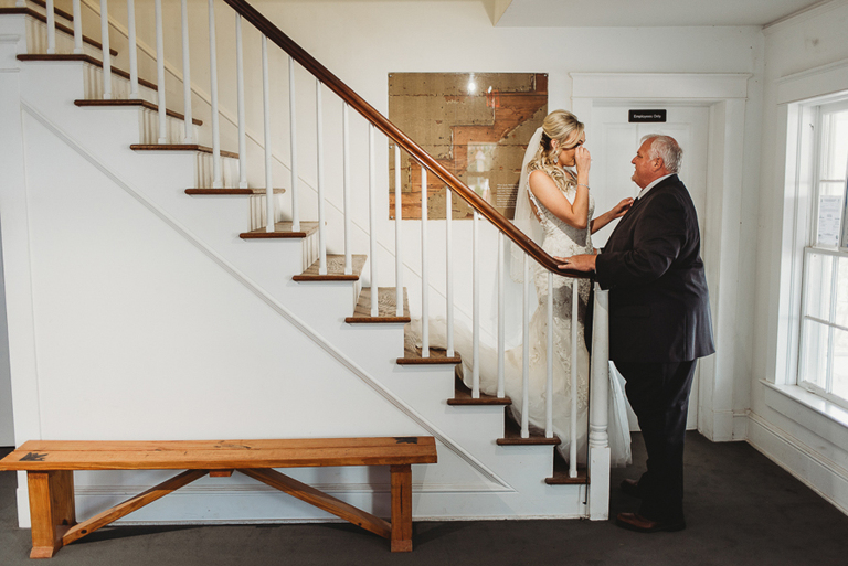 Bride and Father First Look Wedding Portrait on Staircase | Tampa Bay Wedding Dress Shop Truly Forever Bridal