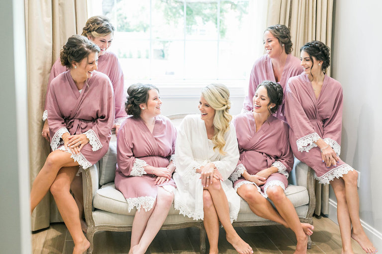 Bride and Bridesmaids Getting Ready Portrait in Dusty Rose Robes | Tampa Bay Hair and Makeup Femme Akoi