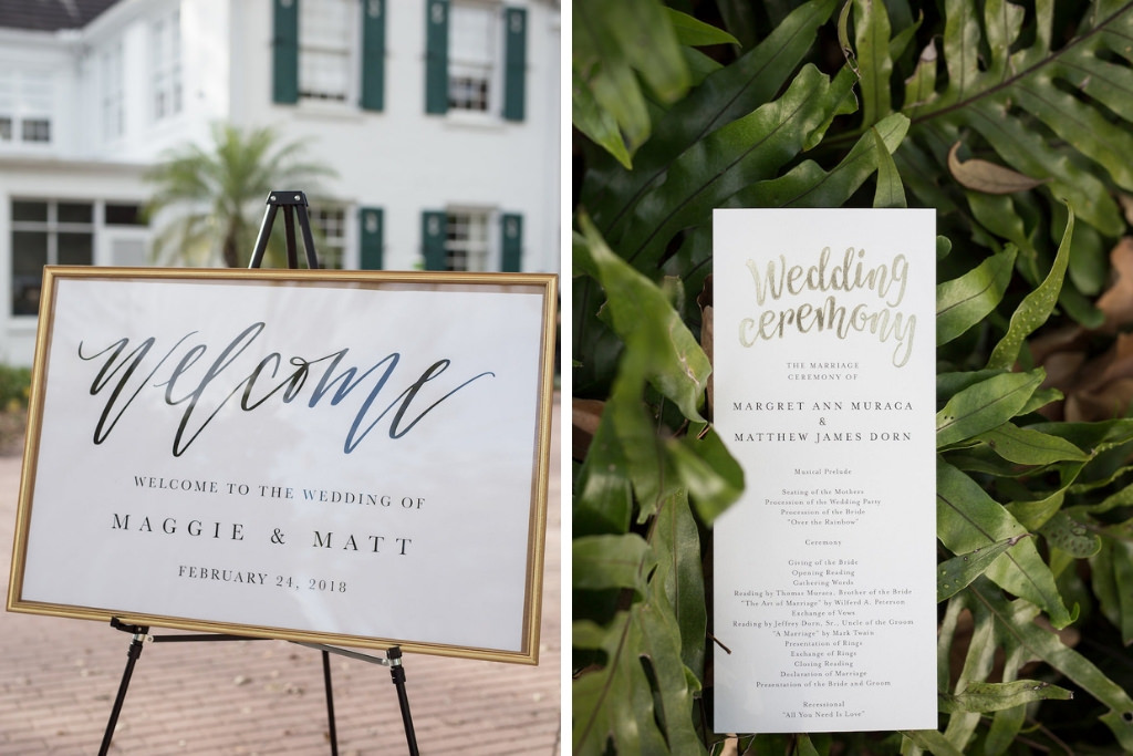 Wedding Ceremony Modern Welcome Sign in Gold Frame and Gold Foil Wedding Program | Tampa Bay Photographer Cat Pennenga Photography| Sarasota Wedding Planner NK Productions