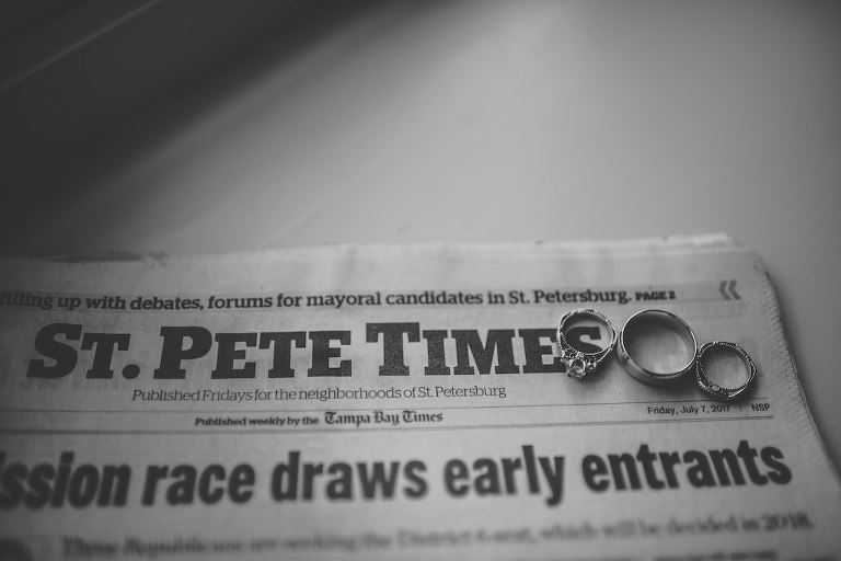 Engagement Ring and Wedding Rings on St. Pete Times Newspaper
