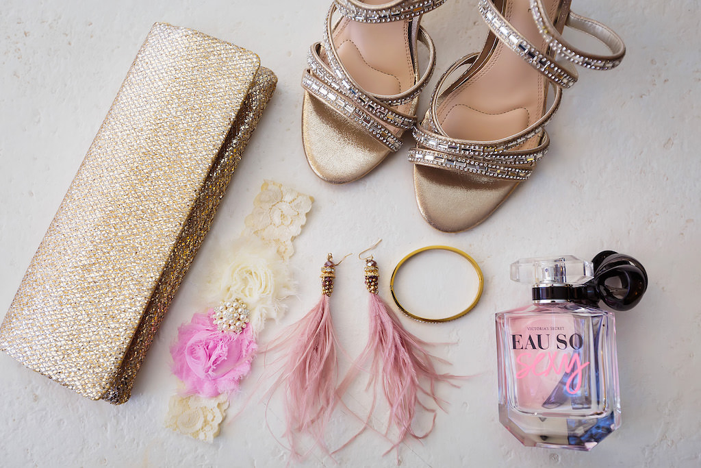 Florida Bride Wedding Accessories, Glitter Gold Clutch Purse, Lace, Pink Flower and Pearl Garter, Pink Feather Earrings, Perfume Bottle and Gold Rhinestone Strappy Wedding Heel Shoes