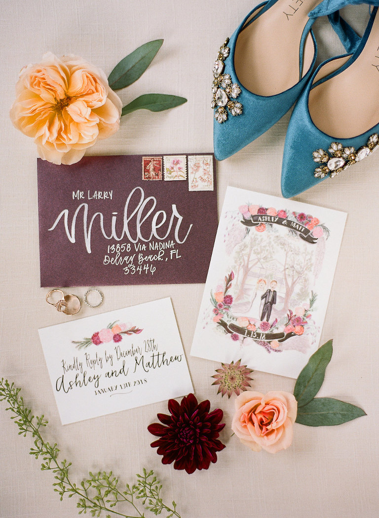 Boho Chic Inspired Personalized Watercolor Wedding Invitation, Blue Velvet Pointed Toe with Rhinestone Wedding Shoes