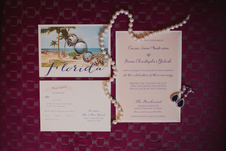 Old Florida Inspired Wedding Invitation, Pearl Necklace, Wedding Rings and Blue Sapphire Diamond Pear Shape Earrings