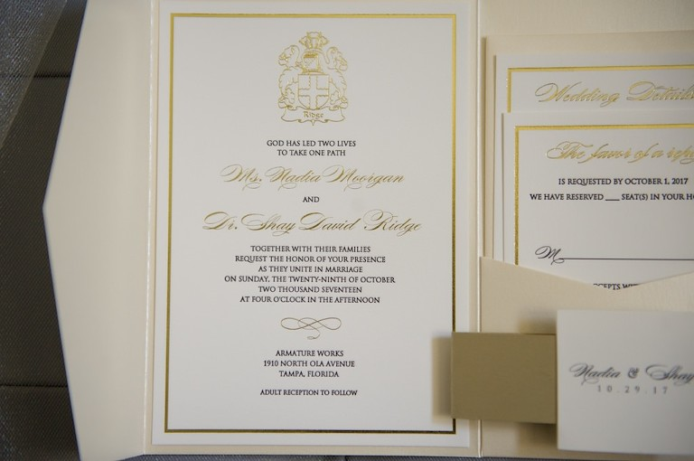 Traditional Elegant White Invitation Suite with Gold Foil Accents | Tampa Bay Wedding Photographer Andi Diamond Photography