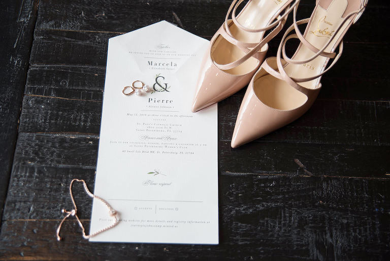 Romantic Modern White Wedding Invitation, Nude Strappy Pointed Toe Christian Louboutin Strappy Wedding Shoes | Tampa Bay Wedding Photographer Kristen Marie Photography
