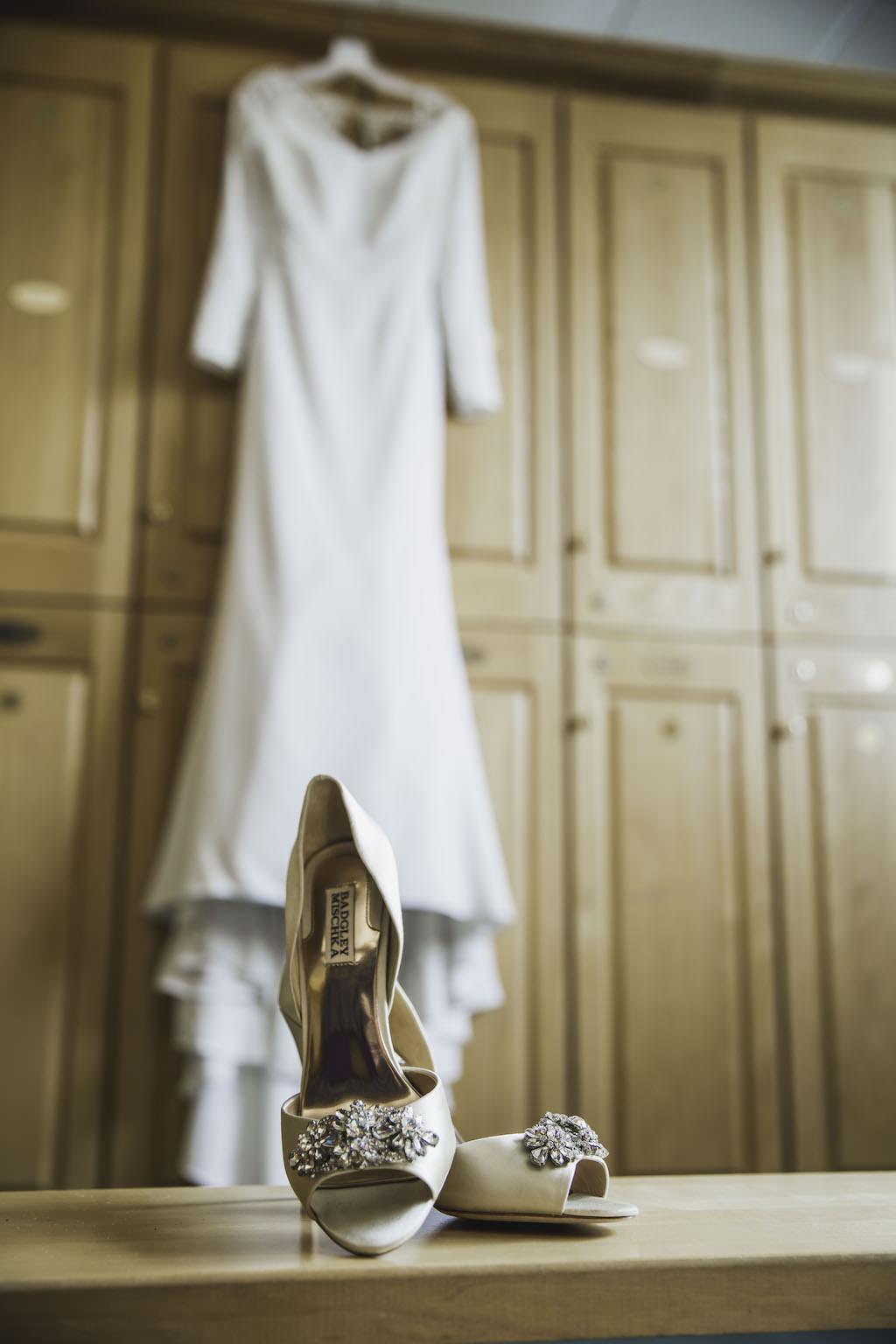 Badgley Mischka Off White Satin Peep Toe with Rhinestone Accent Wedding Shoes