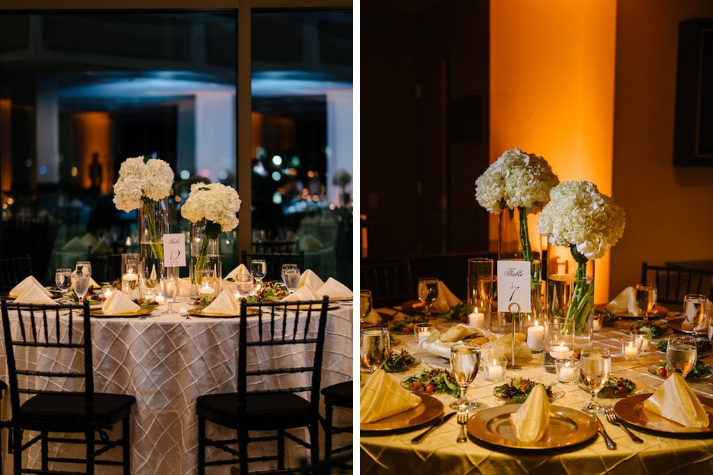 Elegant, Timeless Traditional Hydrangea Centerpieces with Gold Chargers and Pintuck Linens   Downtown St. Pete Wedding Venue the Mahaffey Theatre