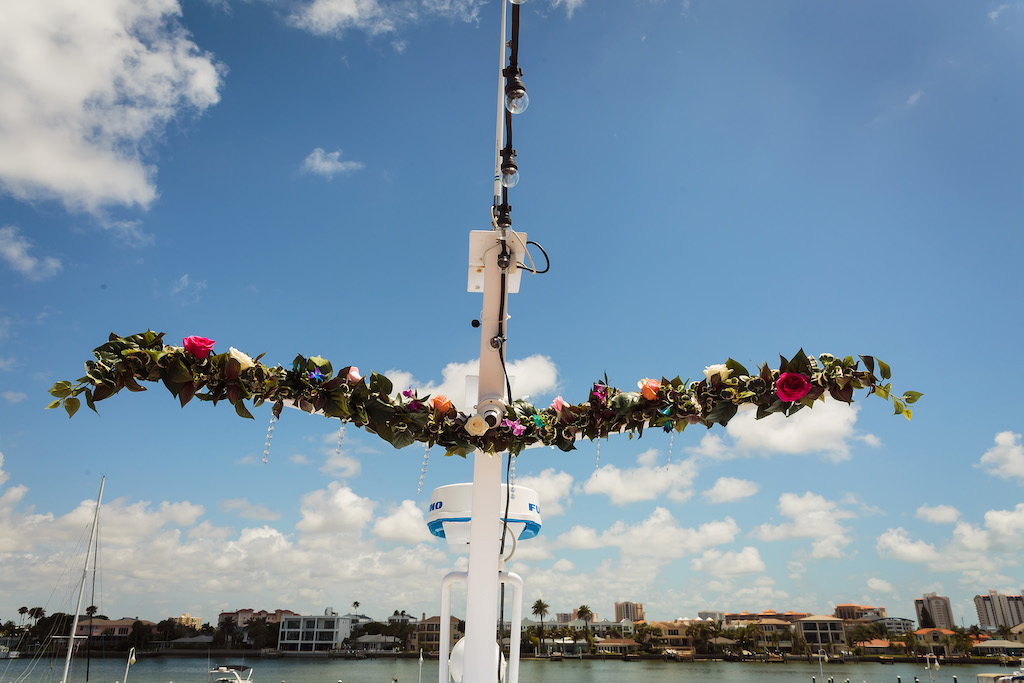 Wedding Ceremony Decor, Greenery and Colorful Roses on Tampa Bay Waterfront Wedding Venue Yacht StarShip IV