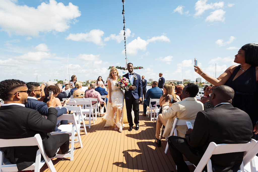 Florida Boho Chic Inspired Wedding Ceremony Bride and Groom Portrait | Unique Waterfront Tampa Wedding Venue The Yacht Starship IV
