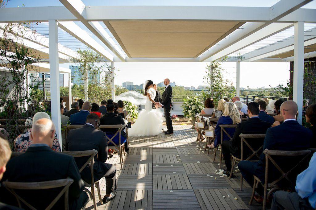 Outdoor Garden Rooftop 220 Terrace Bride and Groom Wedding Ceremony Portrait | Tampa Bay Wedding Photographer Andi Diamond Photography | Tampa Industrial Unique Wedding Venue Armature Works