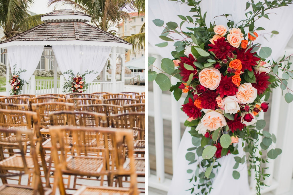 Outdoor Beach Wedding Ceremony at Gazebo with White Draping and Colorful Floral Bouquets, Greenery, Blush Pink, Red and Orange Flowers | Waterfront St. Petersburg Venue Isla Del Sol Yacht and Country Club
