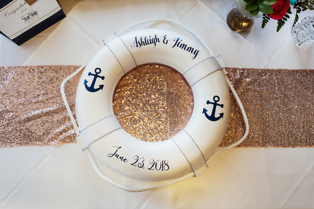 White and Navy Blue Personalized Lifesaver Tube on Gold Sparkle Table Runner