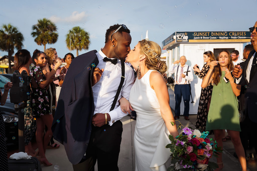 Florida Bride and Groom Bubble Wedding Exit Portrait | Clearwater Beach Waterfront Wedding Venue Yacht Starship IV | Tampa Bay Hair and Makeup Femme Akoi