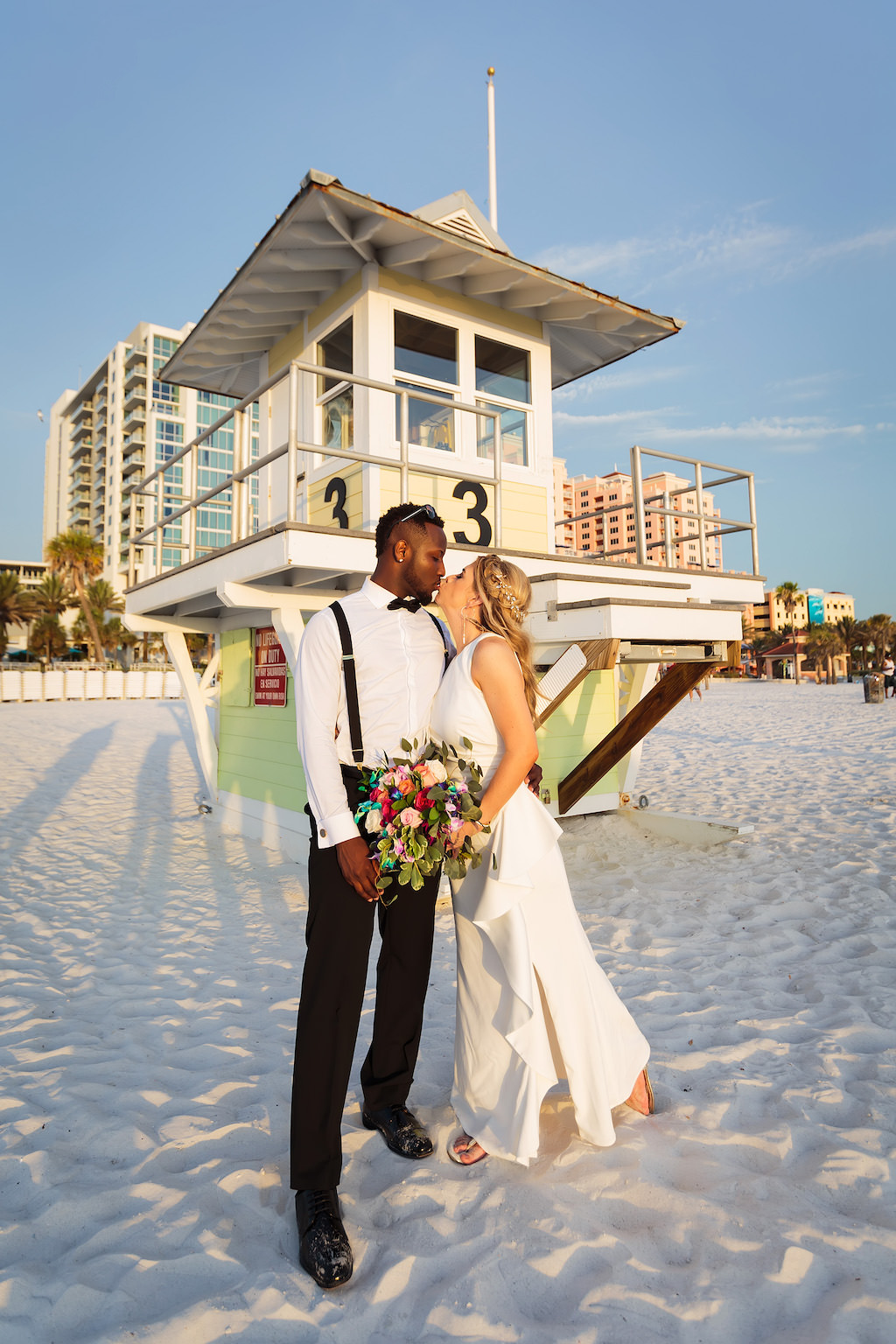 Florida Bride and Groom Wedding Portrait on Beach