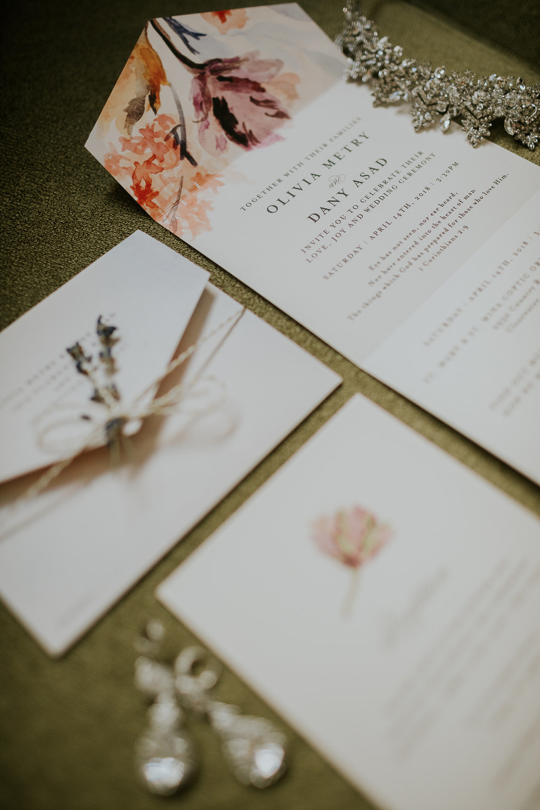 Elegant White and Floral Watercolor Wedding Invitation Suite | Tampa Bay Wedding Photographer Brandi Image Photography