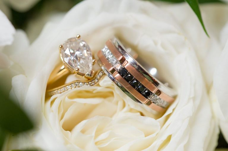Pear Shaped Diamond in Gold Band Engagement Ring, Rose Gold and White Gold with Diamonds Groom Wedding Ring | Tampa Bay Wedding Photographer Andi Diamond Photography