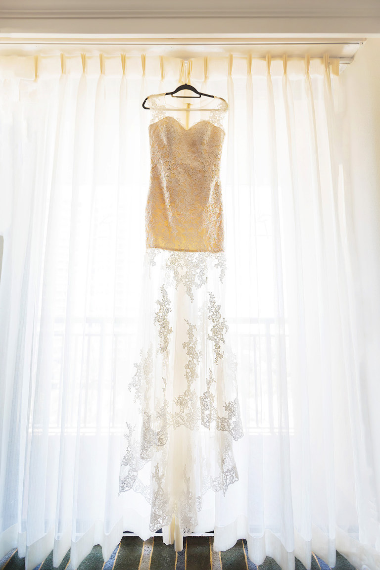 Lace and Illusion High Scoop Neckline Wedding Dress
