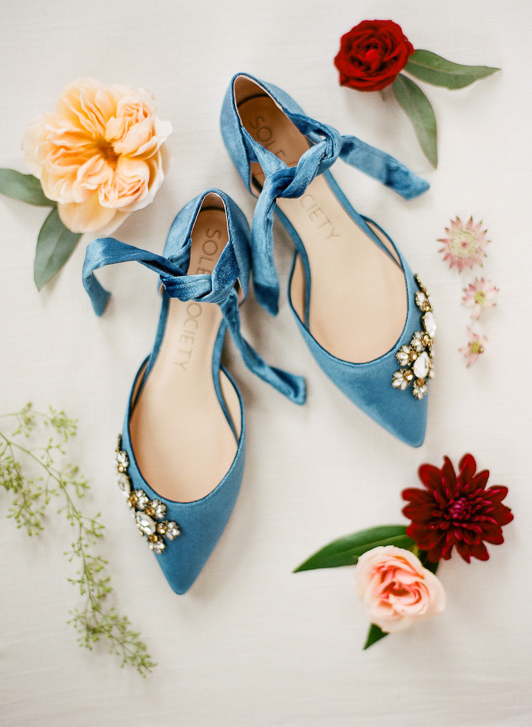 Blue Velvet Pointed Toe with Rhinestone Accent Flat Wedding Shoes