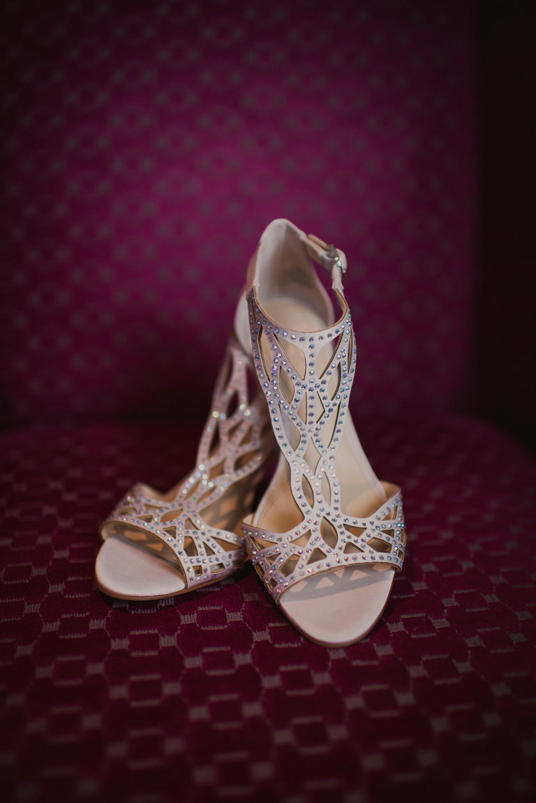 Champagne and Rhinestone Cage Sandal Style Wedding Heel Shoe