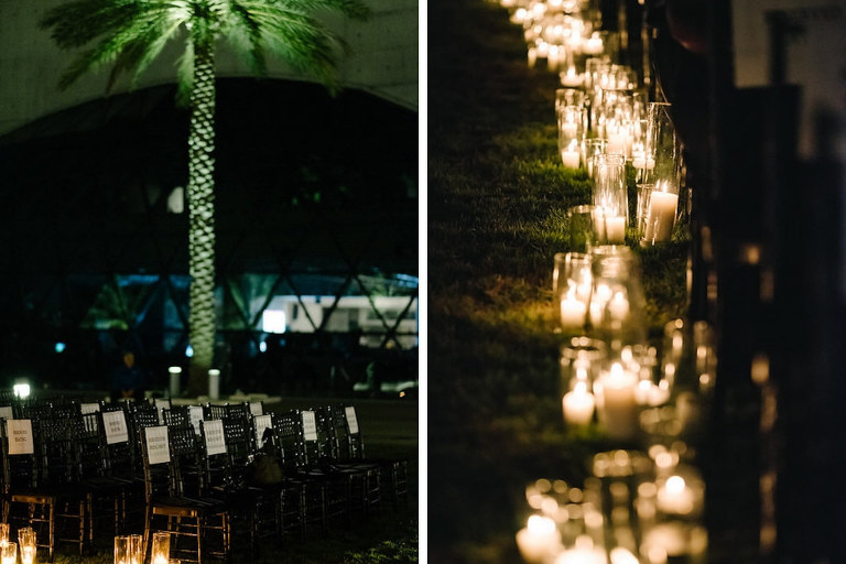 Outdoor Nighttime Ceremony with Candlelit Aisle | St Petersburg, Florida Wedding at the Mahaffey Theatre