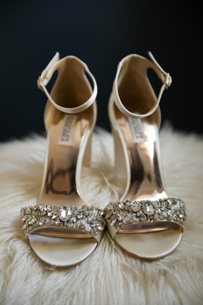 Champagne and Rhinestone Sandal Strappy Wedding Shoes | Tampa Bay Wedding Photographer Andi Diamond Photography