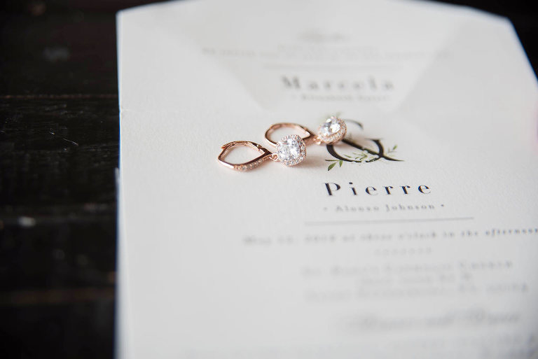 Romantic Modern White Wedding Invitation and Rose Gold and Diamond Dangle Earrings | Tampa Bay Wedding Photographer Kristen Marie Photography