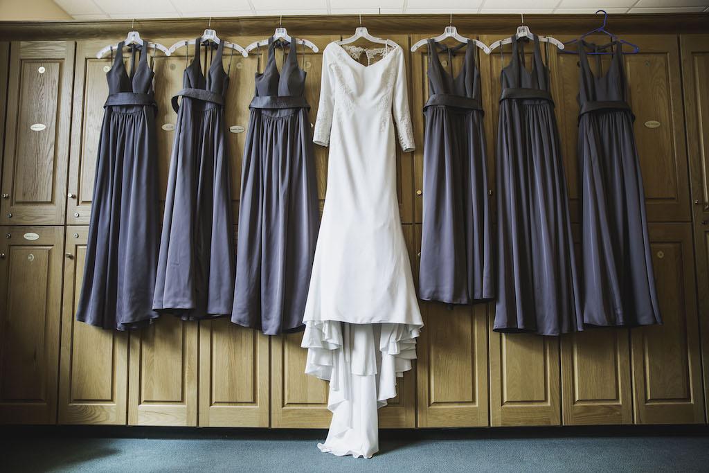 Long Sleeve V-Neck Mermaid Crepe and Lace Wedding Dress, Matching Grey Halter Top Bridesmaids Dresses