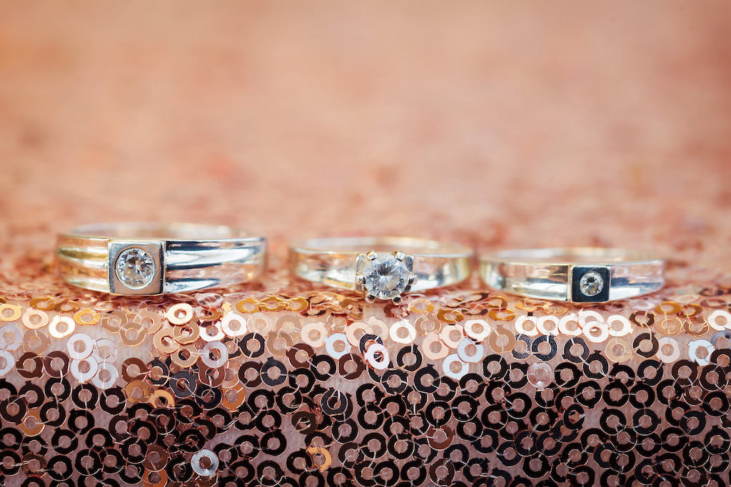 Silver/White Gold and Diamond Wedding Rings and Round Diamond Engagement Ring