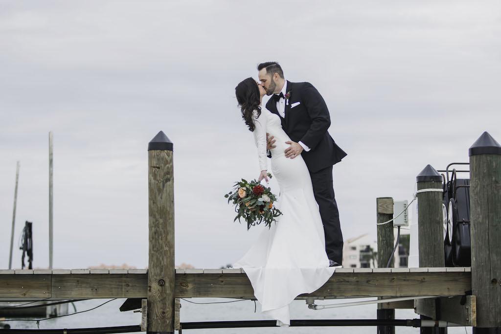 Outdoor Florida Bride and Groom Romantic Wedding Portrait | St. Petersburg Wedding Venue Isla del Sol Yacht and Country Club