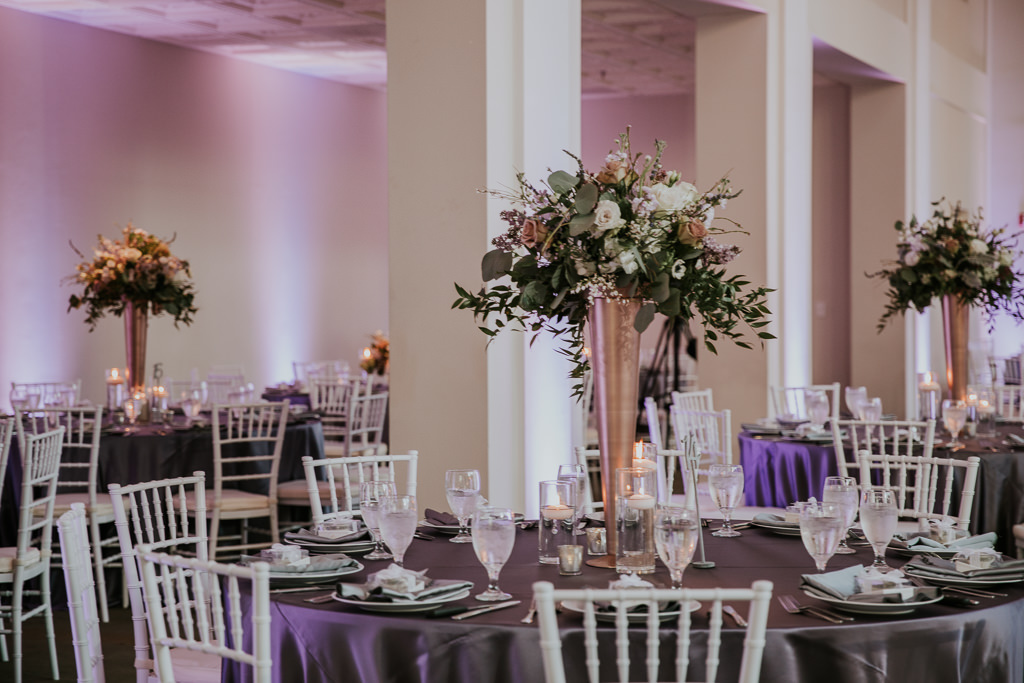 Modern Wedding Reception Decor With Silver Chiavari Chairs And