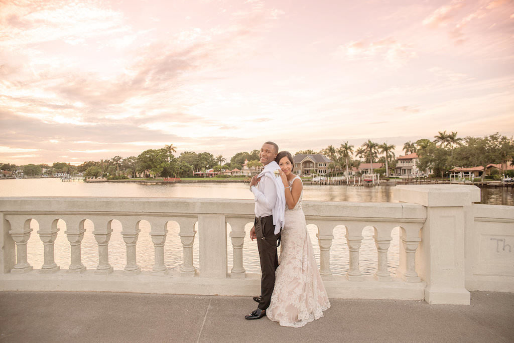 Romantic Waterfront Outdoor Sunset Bride and Groom Wedding Portrait | Tampa Bay Wedding Photographer Kristen Marie Photography