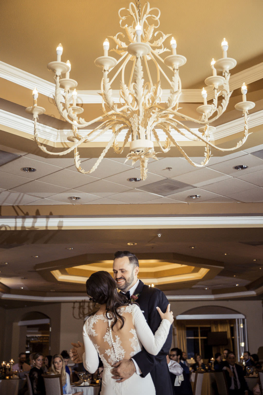 Bride and Groom Ballroom Wedding Ceremony First Dance Portrait | St. Petersburg Waterfront Venue Isla Del Sol Yacht and Country Club