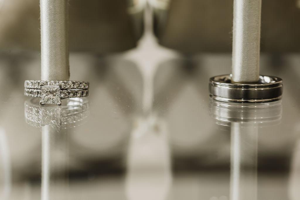 Princess Cut Diamond Engagement Ring and Diamond Wedding Band, Silver Groom Wedding Ring